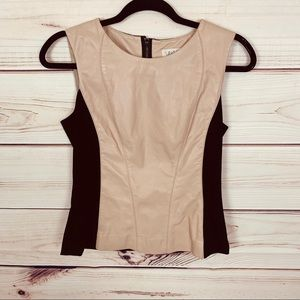 SOLD VAKKO leather paneled top nude and black nwt